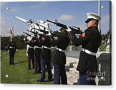 Marines Practices Drill Movements Acrylic Print by Stocktrek Images