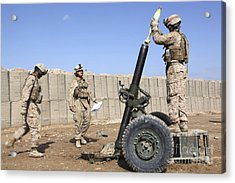 Marines Prepare To Fire A 120mm Mortar Acrylic Print by Stocktrek Images