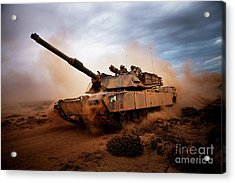 Marines Roll Down A Dirt Road Acrylic Print