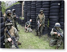 Marines Set Up Security While Waiting Acrylic Print by Stocktrek Images