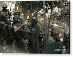 Marines Trudge Through The Mud Acrylic Print by Stocktrek Images