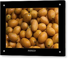 Market Mangoes Against Black Background Acrylic Print by Zoe Ferrie