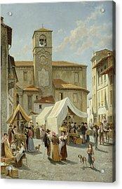 Marketday In Desanzano  Acrylic Print by Jacques Carabain