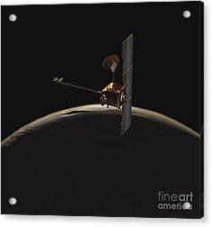 Mars Odyssey Spacecraft Over Martian Acrylic Print by Stocktrek Images