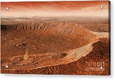 Martian Gullies In Noachis Terra, Mars Acrylic Print by Steven Hobbs