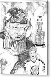 Martin Brodeur Sports Portrait Acrylic Print by Marty Rice