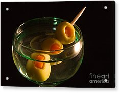 Martini Cocktail With Olives In A Green Glass Acrylic Print by ELITE IMAGE photography By Chad McDermott