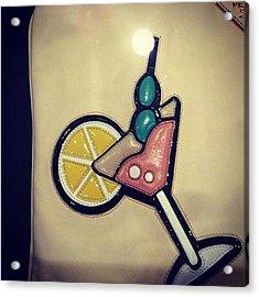 #martini #lemon #ice #drink #leather Acrylic Print