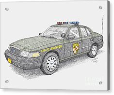 Maryland State Police Car 2012 Acrylic Print by Calvert Koerber