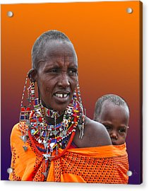 Masai Mother And Child Acrylic Print