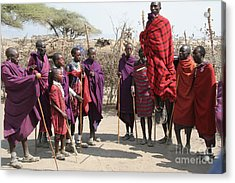 Masai Warriors Jumping Acrylic Print by Scotts Scapes