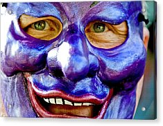 Mask At New Orleans Mardi Gras Parade, New Orleans, Louisiana, United States Of America, North America Acrylic Print by Ray Laskowitz