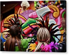 Acrylic Print featuring the photograph Masked Mardi Gras Women by Jim Albritton
