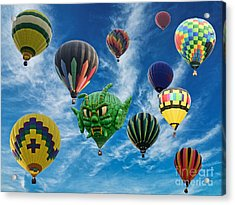 Mass Hot Air Balloon Launch Acrylic Print by Paul Ward