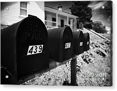 matt black american private mailboxes in front of houses Lynchburg tennessee usa Acrylic Print by Joe Fox
