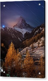 Matterhorn With Star Trail Acrylic Print by Coolbiere Photograph