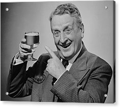 Mature Man W/glass Of Beer Acrylic Print by George Marks