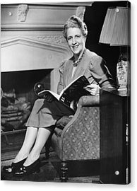 Mature Woman Sitting In Armchair, Holding Magazine, (b&w), Portrait Acrylic Print by George Marks