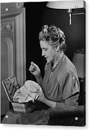 Mature Woman Sitting In Living Room, Doing Needlepoint, (b&w) Acrylic Print by George Marks