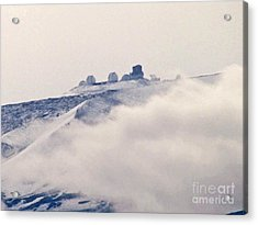 Mauna Kea Observatories With Snow Acrylic Print by Bette Phelan