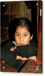 Acrylic Print featuring the photograph Maya Girl Coban Guatemala by John  Mitchell