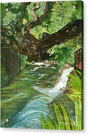 Acrylic Print featuring the painting Maya Ubud Tree Bali Indonesia by Melly Terpening
