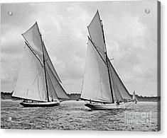 Mayflower And Galatea Start America's Cup 1886 Acrylic Print by Padre Art