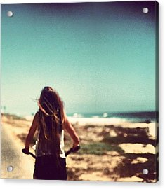 #me #beach #summer #loving #picture Acrylic Print by Isidora Leyton