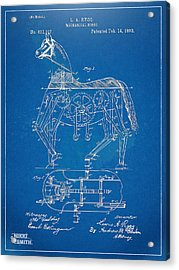 Mechanical Horse Toy Patent Artwork 1893 Acrylic Print by Nikki Marie Smith