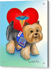 Medical Alert Yorkie Acrylic Print