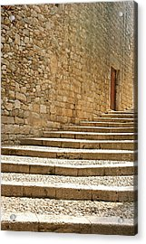 Medieval Stone Steps With One Doorway At The Top. Acrylic Print by Tracy Packer Photography