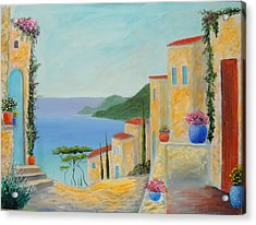Acrylic Print featuring the painting Mediterranean Haven by Larry Cirigliano