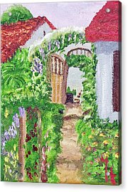 Acrylic Print featuring the painting Mediterranean Walkway by Margaret Harmon