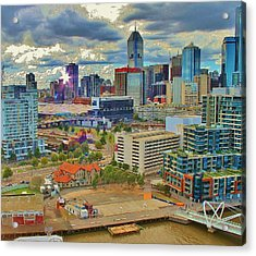 Melbourne City Blocks Of Color Acrylic Print
