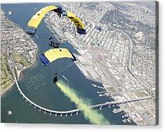 Members Of The U.s. Navy Parachute Team Acrylic Print by Stocktrek Images