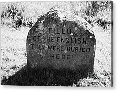 memorial stone for the dead english on Culloden moor battlefield site highlands scotland Acrylic Print by Joe Fox