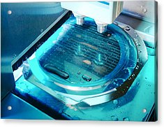 Mems Production, Wafer Cutting Acrylic Print by Colin Cuthbert