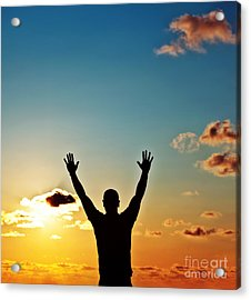 Men Silhouette At Sunset Acrylic Print by Anna Om