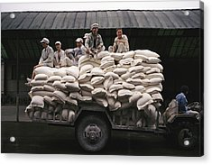 Men Sit On Bags Of Flour Acrylic Print by Justin Guariglia