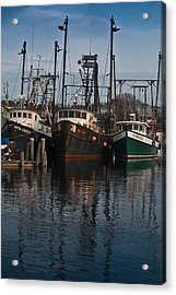 Menemsha Village Fishing Boats Acrylic Print by Peggie Strachan