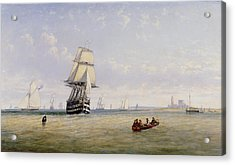 Meno War Schooners And Royal Navy Yachts Acrylic Print by Claude T Stanfield Moore