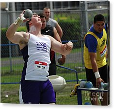 Mens Shotput Acrylic Print by Bob Christopher