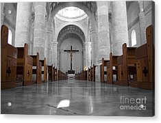 Acrylic Print featuring the photograph Merida Mexico Cathedral Interior Color Splash Black And White by Shawn O'Brien