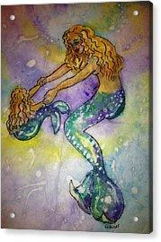 Mermaid And Child Acrylic Print by Gloria Avner
