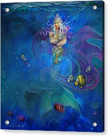 Acrylic Print featuring the painting Mermaid Prince by Steve Roberts