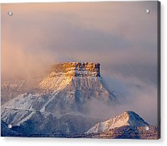 Mesa Verde Adorned With Clouds Acrylic Print by FeVa  Fotos