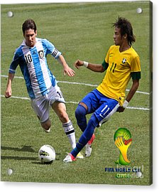 Messi And Neymar Clash Of The Titans World Cup 2014 Acrylic Print by Lee Dos Santos