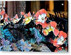 Metallic Poppies Acrylic Print by Karon Melillo DeVega