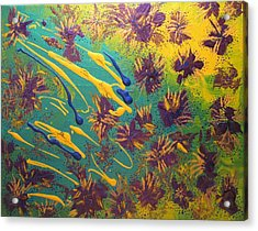 Metallic Waterlilies Acrylic Print by Sharon  De Vore