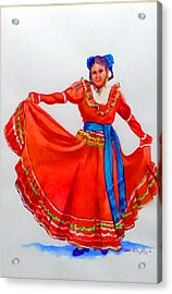 Mexican Srta In Red Acrylic Print by Estela Robles